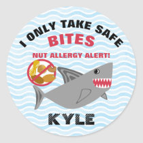 Shark Nut Allergy Alert Customized Cute Kids Classic Round Sticker