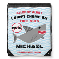 Shark Nut Allergy Alert Drawstring Bag