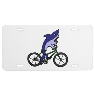 Shark on a Bicycle Cartoon License Plate