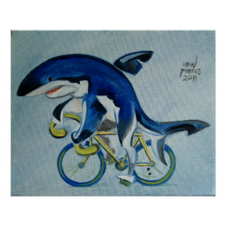 Shark On A Bicycle Poster