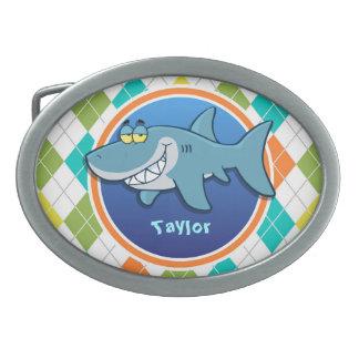 Shark on Colorful Argyle Pattern Belt Buckles