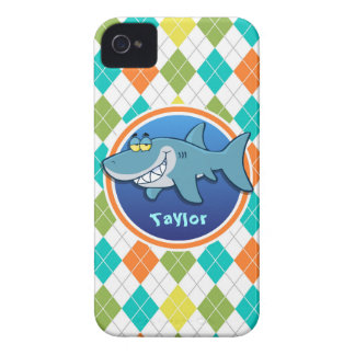 Shark on Colorful Argyle Pattern iPhone 4 Cover