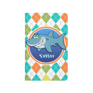 Shark on Colorful Argyle Pattern Journal