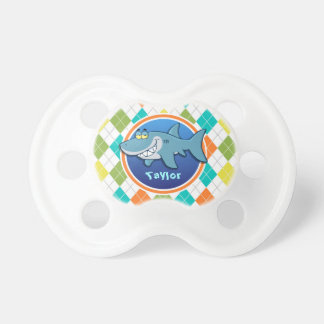 Shark on Colorful Argyle Pattern Baby Pacifier