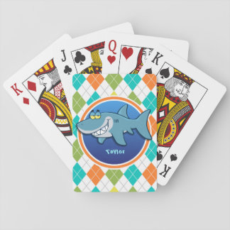 Shark on Colorful Argyle Pattern Playing Cards
