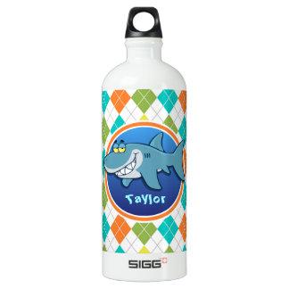 Shark on Colorful Argyle Pattern SIGG Traveler 1.0L Water Bottle
