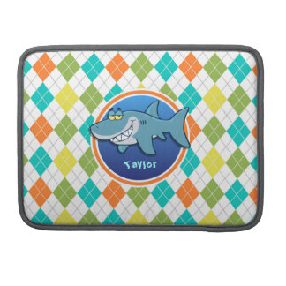 Shark on Colorful Argyle Pattern Sleeve For MacBooks