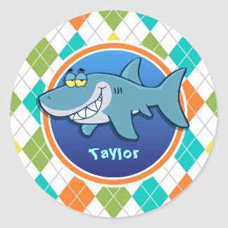 Shark on Colorful Argyle Pattern Classic Round Sticker
