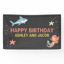 Shark or Mermaid Birthday Banner Pool Party