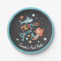 Shark or Mermaid Birthday Paper Plate Pool party