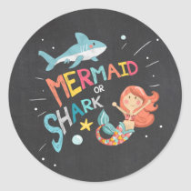 Shark or Mermaid Sticker Favor Tags Pool Party