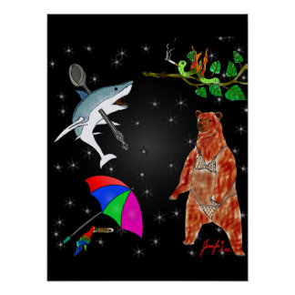 Shark, Parrot, Bear and Inchworm in Space Poster