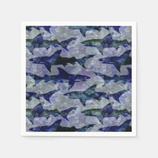 Shark Pattern in Purple and Blue Paper Napkin