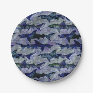 Shark Pattern in Purple and Blue Paper Plate