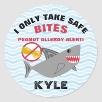 Shark Peanut Allergy Alert Personalized Classic Round Sticker