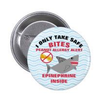 Shark Peanut Allergy Alert Personalized Pinback Button