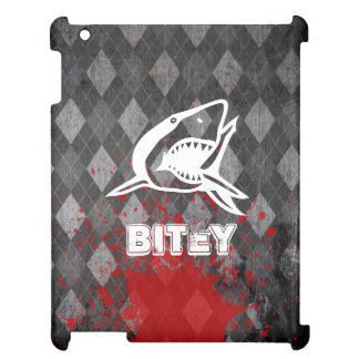 Shark Pictogram on Grungy Black Argyle Cover For The iPad 2 3 4