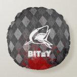 Shark Pictogram on Grungy Black Argyle Round Pillow