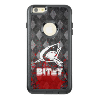Shark Pictogram on Grungy Black Argyle OtterBox iPhone 6/6s Plus Case