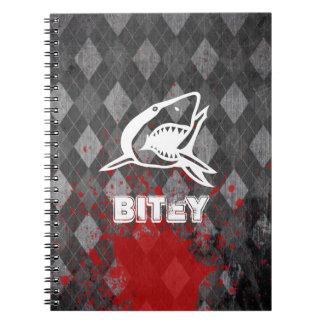 Shark Pictogram on Grungy Black Argyle Spiral Notebook
