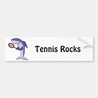 Shark Playing Tennis Cartoon Bumper Sticker