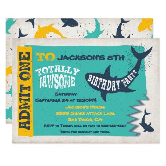 shark pool birthday party invitation ticket zazzle com