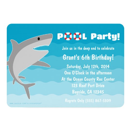 shark pool party invitation zazzle com