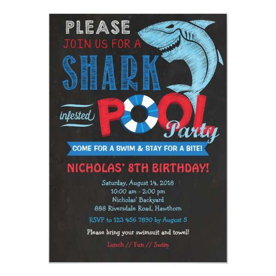 Shark Pool Party Invitation Shark Invitation  ZazzleCom