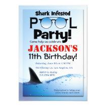 Shark Pool Party Swimming Birthday Invitation