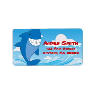 Shark Pool Swimming Birthday Party Address Labels