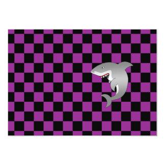 "Shark purple checkers 5"" x 7"" invitation card"