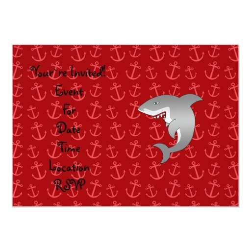 Shark red anchors pattern 5x7 paper invitation card