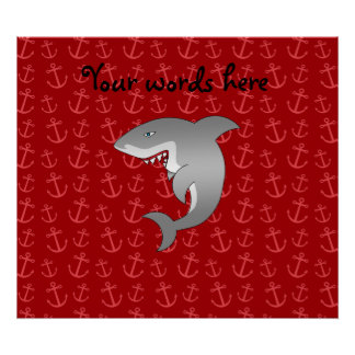 Shark red anchors pattern poster