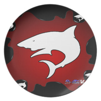 SHARK RED BACKGROUND PRODUCTS DINNER PLATE