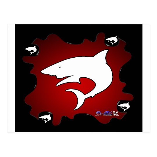 SHARK RED  BACKGROUND PRODUCTS POSTCARD
