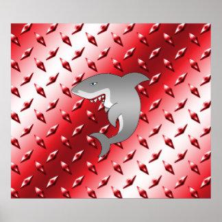 Shark red diamond plate steel pattern print