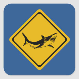 shark road sign square sticker