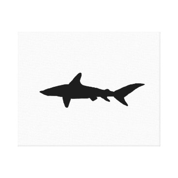 Beach Themed Shark Silhouette Canvas Print