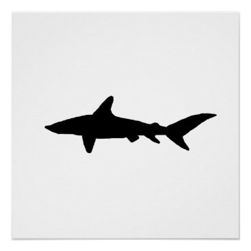 Beach Themed Shark Silhouette Poster