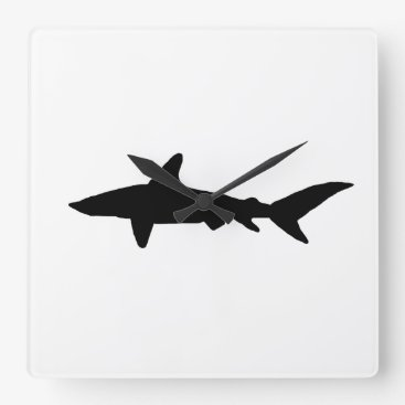 Beach Themed Shark Silhouette Square Wall Clock