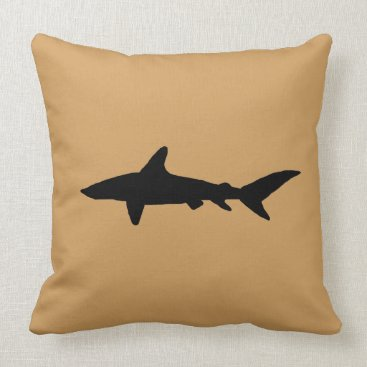 Beach Themed Shark Silhouette Throw Pillow