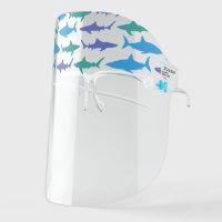 Shark Silhouettes Blue Face Shield
