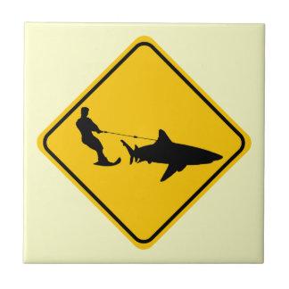 Shark Skiing Ceramic Tiles