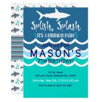 Shark Splash Party Swim Invitation Boys Summer