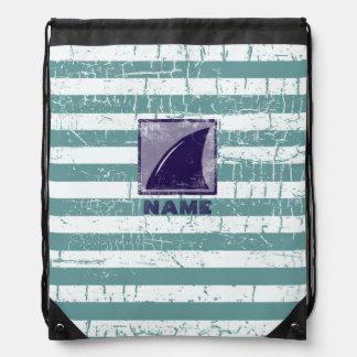 shark & stripes personalized drawstring bag