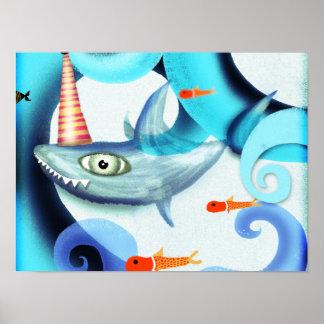 Shark Surfing Swirly Print