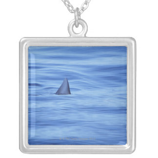 Shark swimming in ocean water silver plated necklace