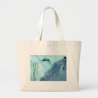 Shark Swimming Large Tote Bag