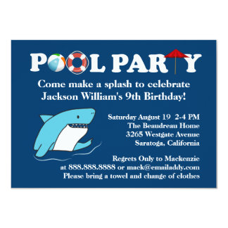 Shark Swimming Pool Party Birthday Invitation
