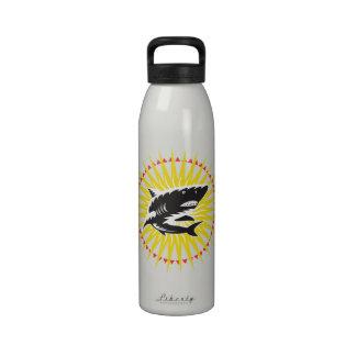 Shark Swimming Up Sunburst Woodcut Reusable Water Bottles